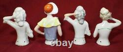 10 Antique ASSORTED Porcelain HALF DOLLS Pin Cushion Dolls Bonnet German Japan