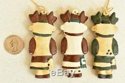 11 Vintage Kachina Dolls Ceramic Christmas Ornaments Rare Southwest Earth Tones