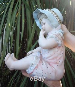 12 large Vintage Bisque Porcelain Baby Piano figurine girl Doll handp. German