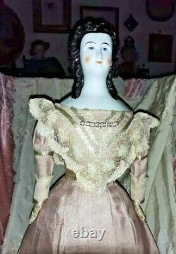 17-18 Rare Early China Head Doll With Very Unusual Hair Do Leather Early Body