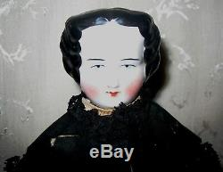 1800's Antique German Doll with Porcelain Head, Legs and Hands