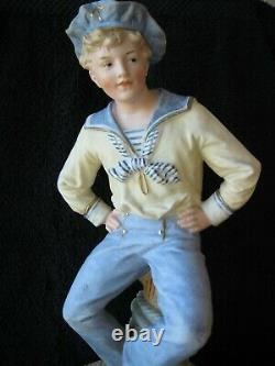 1800's German Gebruder Heubach Large 11Porcelain Bisque Figurine Piano Baby Boy