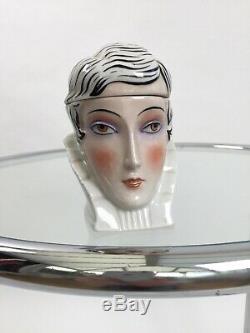 1920s ceramic powder bowl Art Deco flapper girl vintage antique half doll