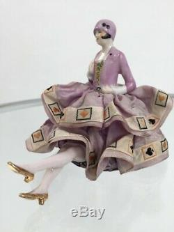 1920s half doll lady ceramic with playing cards skirt vintage antique flapper