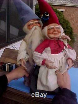 1979 Faith Wick Original Porcelain Vintage Grandma & Gpa Gnome's M K Topper