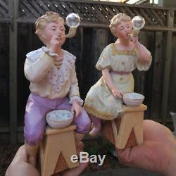 2 Gebruder Heubach Bisque porcelain Piano Baby doll Figurine Vintage bubble blow