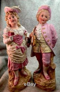 2 Gebruder Heubach Bisque porcelain Piano doll Figurine Vintage