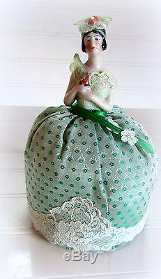 2 Vintage Art Deco Era German Glazed Porcelain Victorian Half Doll Pincushion