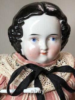 20 Antique German Porcelain China Head Doll AW Kister High Brow 1860-80s #A