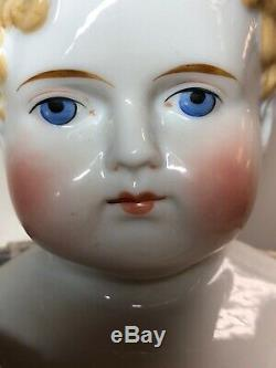 22 Antique Porcelain German China Head ABG Blonde Hair Exp. Ears Leather Body