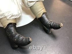 26 Antique Bisque German Alt Beck Gottschaulck 1260 No. 10 Brunette Cloth Body