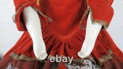 36 Antique Large Porcelain Victorian Doll Black Hair Blue Eyes Linen Petticoats