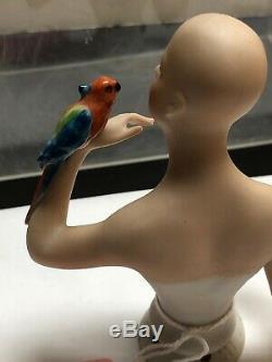 4.25 Antique German Porcelain Half 1/2 Doll Goebel Bald With Parrot #411 #SE