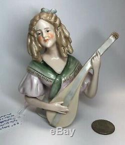 4.5 Antique German Porcelain Half 1/2 Doll Musician Lute Guitar Beautiful #Cc