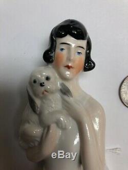 4 Antique German Porcelain Half 1/2 Doll Black Hair Holding Puppy Dog #SE