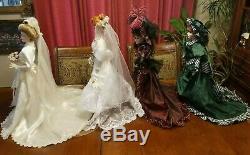 4 Vintage Porcelain Dolls 2 Brides, Southern Bell, Musical My Darlin' Lil 22