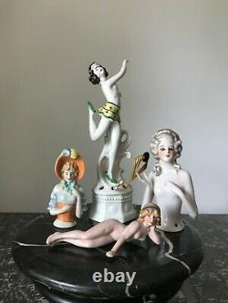 4 pieces antique Art deco German porcelain vintage half doll pincushion