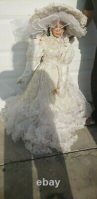 42 Bride by Rustie, Lg. Porcelain Victorian Style Doll with Wedding Dress & Hat