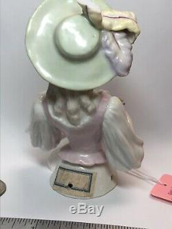 5 Antique German Porcelain Half 1/2 Doll Beautiful Feather Hat & Flowers #Cc