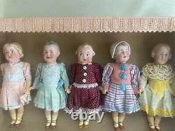 5 antique porcelain head dolls in a box brothers Heubach