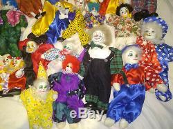 54 Vintage Porcelain Clown collection sand stuffed doll joker huge collection