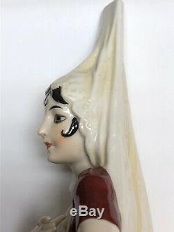 6.25 Antique German Porcelain Half 1/2 Doll Amazing Spanish Lady Mantilla #S