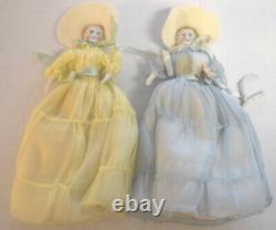 6 ANTIQUE Dollhouse Dolls SET Wedding Bridal Party Original China Shoulder Heads