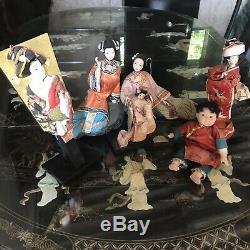6 X Vintage Japanese Geisha Girl Dolls Hagoita Paddle Bisque Porcelain Kimono