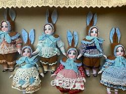 6 antique Porcelain Dolls in the Original Box Kühnlenz Brothers-Bunnys