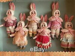 6 antique porcelain dolls in the original box Kühnlenz Brothers-Bunny