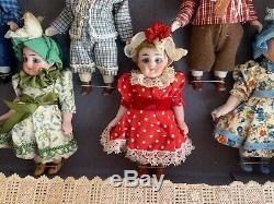 6 antique porcelain dolls in the original box Kühnlenz brothers