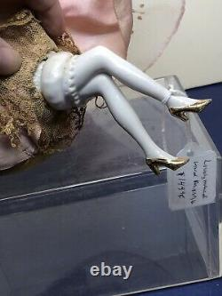 7 Antique German Bisque Half 1/2 Doll Pin Cushion Art Deco Gold Hair Legs #X
