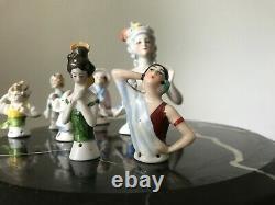 8 vintage Half doll antique German porcelain pincushion figurine boudoir doll