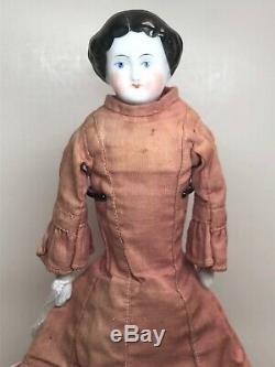 9.5 Antique Porcelain German Made China Head Flat Top Original Orange Boots #SA