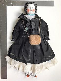 A Large Antique vintage collectible Porcelain Dressed & Decorated Doll
