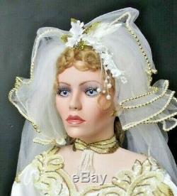 A21 42 Tall Rustie Porcelain Artist Lady Bride Doll Wedding Gown Welden Museum
