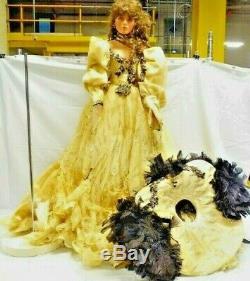 A21 Vintage 36 Rustie Artist Porcelain Doll Victorian Lady Gold & Black Dress +