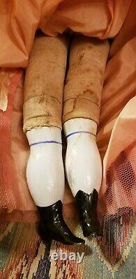 ANTIQUE BLONDE EXPOSED EARS KLING CHINA HEAD DOLL antique body peddler doll
