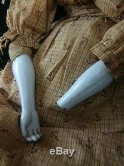 ANTIQUE Porcelain Head DOLL 24 China 1860s Original Dress Sailor Aesthetic