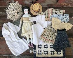 Antique 16 ABG Doll Antique trunk, wardrobe, Umbrella, Hat, china head doll #20