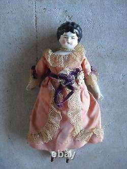 Antique 1890s Germany China Head and Shoulders Bisque Cloth Girl Doll 9 Tall