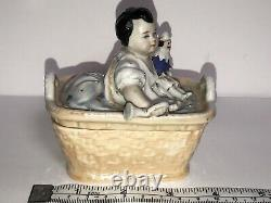 Antique 19th Century Baby With Trumpet And Doll Porcelain Fairing Trinket Box