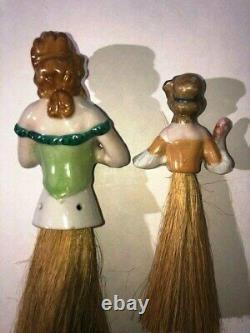 Antique 5 Porcelain Half-Doll Vanity Brush Whisk Broom & Pin Cushion