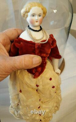 Antique 9 Porcelain Doll & Clothing & Dome Stand