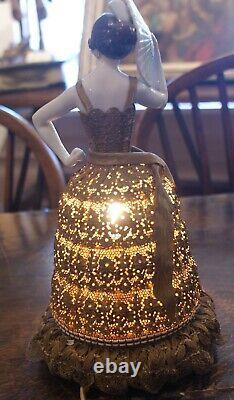 Antique Art Deco Lovely Spanish Señorita withFan Porcelain Half Doll Boudoir Lamp
