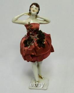 Antique Art deco porcelain half doll William Goebel pin cushion With Legs #6