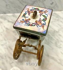 Antique Austrian Ornate Brass porcelain Enamel Romantic miniature Carriage