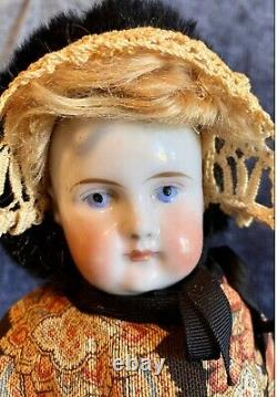 Antique C1850 15 Bald Head Wigged China Head Doll withGreat Body And Paisley Outf