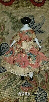 Antique China Shoulder Head Dollhouse Doll 7 1/2