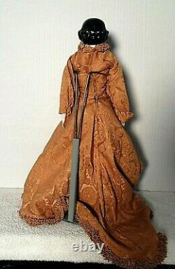 Antique Early China Head Flat Top Flowing Brown Dress